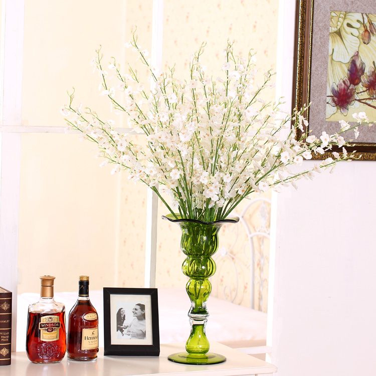 European rural style yellow and white silk Dancing Lady Orchid Floor flower home decoration 9 bouquet/lot(China (Mainland))