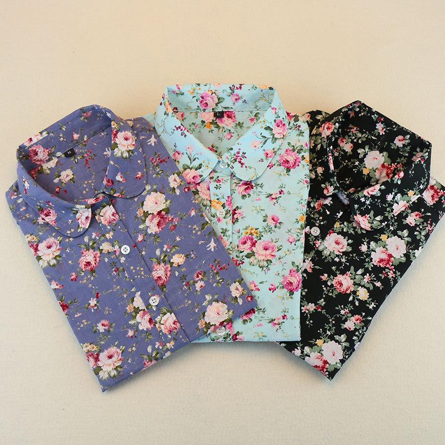Hot New Ladies Office Shirts Women Long Sleeve Blouse Floral Turn Down Collar Women Shirts Womens Tops Fashion 2015(China (Mainland))