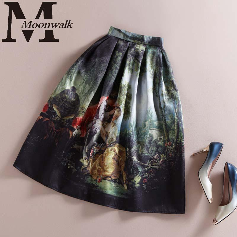 Fall Skirts Women 2015 Autumn Fashion Vintage High Waist Umbrella Midi Skirt Monroe Printed European American Apparel S849Одежда и ак�е��уары<br><br><br>Aliexpress