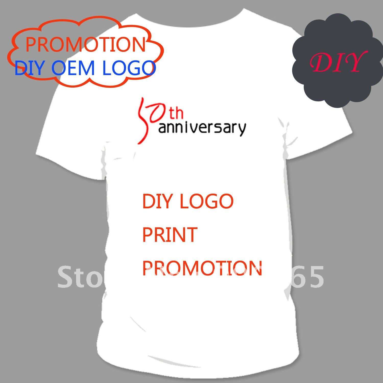 Diy logo print t shirt promotion plug size loose t shirt for Shirts with logo print