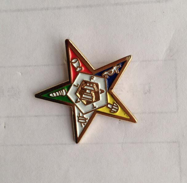"Factory Price 100pcs 1"" Eastern Star Logo Brooch Pins Badges masonic mason freemasonry lapel pin emblem(China (Mainland))"