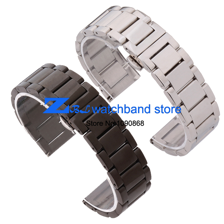 Гаджет  Free Shipping Stainless steel Watchband  metal strap butterfly  buckle silver black width 18mm 20mm 21mm 22mm None Часы