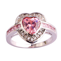 2015 New Arrival Heart Cut Pink Topaz White Topaz 925 Silver Jewelry Ring For Women Gift Free Shipping Size 7 8 9 10 Wholesale