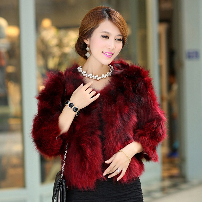 New Arrival Fashion Women Overcoat 100% Real Raccoon Fur Jackets Ladies Genuine Fur Short Coats 7 colors female winter clothing(China (Mainland))