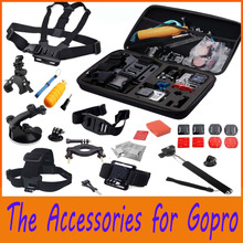 Go pro Accessories Set Chest Head Belt Strap Mount+Floating Handle+Monopod+Helmet strap+Large Case for Gopro Hero 3 3+ 4 /SJ4000