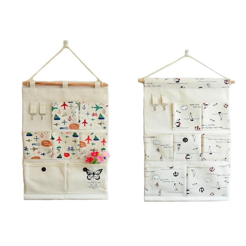 2016 Linen Organization Bag Multi-layer Behind Door Wall Pockets Home Decorating Storage Bag Zakka Style Hanging Organizers(China (Mainland))