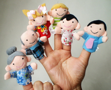 New Hot 6Pcs Family Members Children Finger Puppets Baby Tell Stories Helper Stuffed Plush Doll Christmas Gift Educate Kids Toy(China (Mainland))