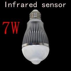 New!! 7W E27 85-260V LED Infrared Motion Sensor White Light Bulb Lamp Motion Led Bulb voice control