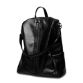 Trendy Double Row Zippers Daypack Genuine Leather Backpack Women Fashion Dual purpose Bag Lightweight Cowhide Hand