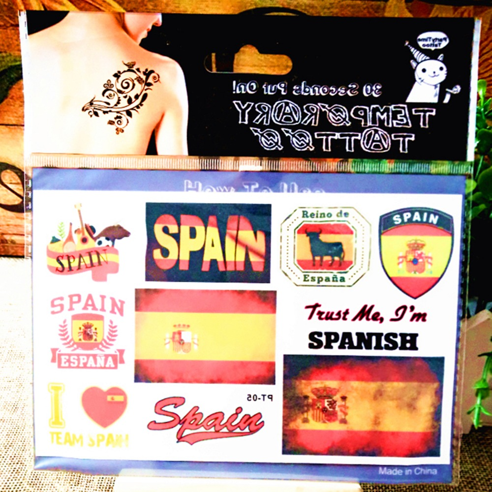I Love Spain Flag Football Fans Temporary Body Art Flash Tattoo Sticker, 17*10cm Waterproof Tatto Henna Tatoo Wall Sticker(China (Mainland))