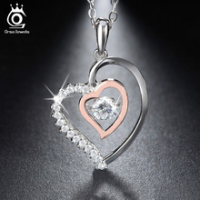 Genuine 925 Silver Double Heart Pendant Necklace with Movable 0.3 ct Crystal Rhodium mixed Rose Gold Plated Necklaces SN15