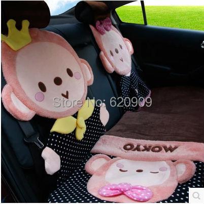 2015 New cute Mokyo Car Cover seat covers 5pcs/lot cute cartoon cushion car mats winter wool pad Universal South Korea(China (Mainland))