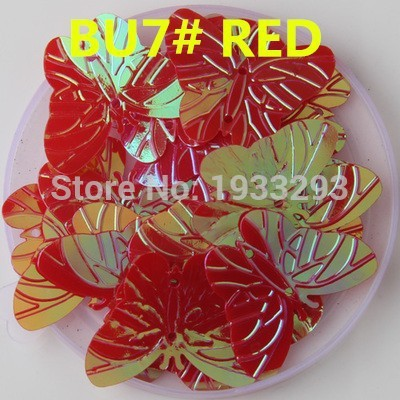 50PCS Red Color 22*30mm Large Butterfly Sequins with 2 holes &Paillette Sewing glitter stickers in children serioms&Clothing(China (Mainland))