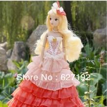 2015 Top Sale 8-11 Years Elsa Brinquedo Juguetes 6084 Happy Princess Pink Lady Kurhn Joint Body With High-heeled Shoes Chinese (China (Mainland))