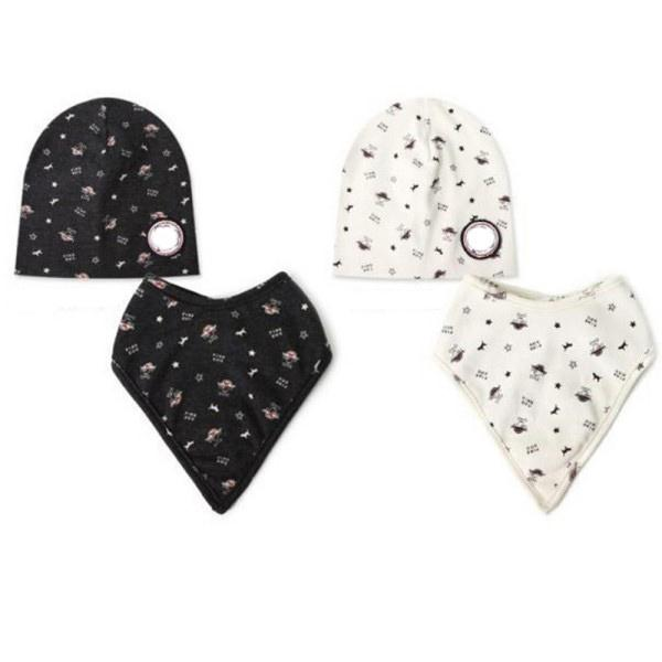Baby Kid Bandana Bibs+Hat Boy Girl Saliva Towel Triangle Head Scarf 2 Colors Free Shipping