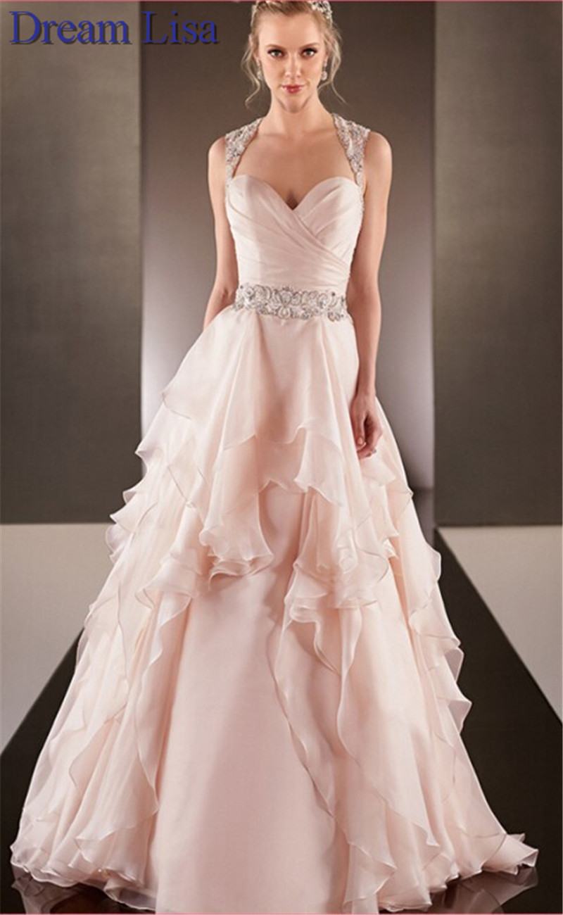 Peach colored wedding dresses 2015 a line sweetheart for Wedding dresses in color