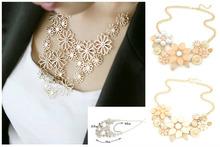 Fashion New 2015 Jewelry Ethnic Hollow Flower Shape Imitation Rhinestone Necklace Collar Choker Necklace For Women(China (Mainland))
