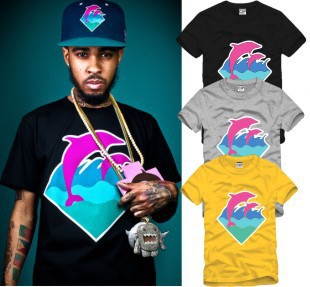 New Summer Fashion street style dolphin printed t shirt pink dolphin t shirt hip hop tee shirts 100% cotton short sleeve tees(China (Mainland))