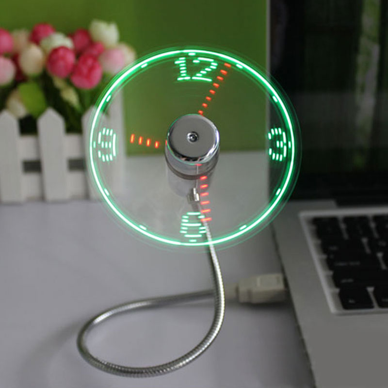 New Durable Adjustable USB Gadget Mini Flexible LED Light USB Fan Time Clock Desktop Clock Cool Gadget Time Display High Quality(China (Mainland))