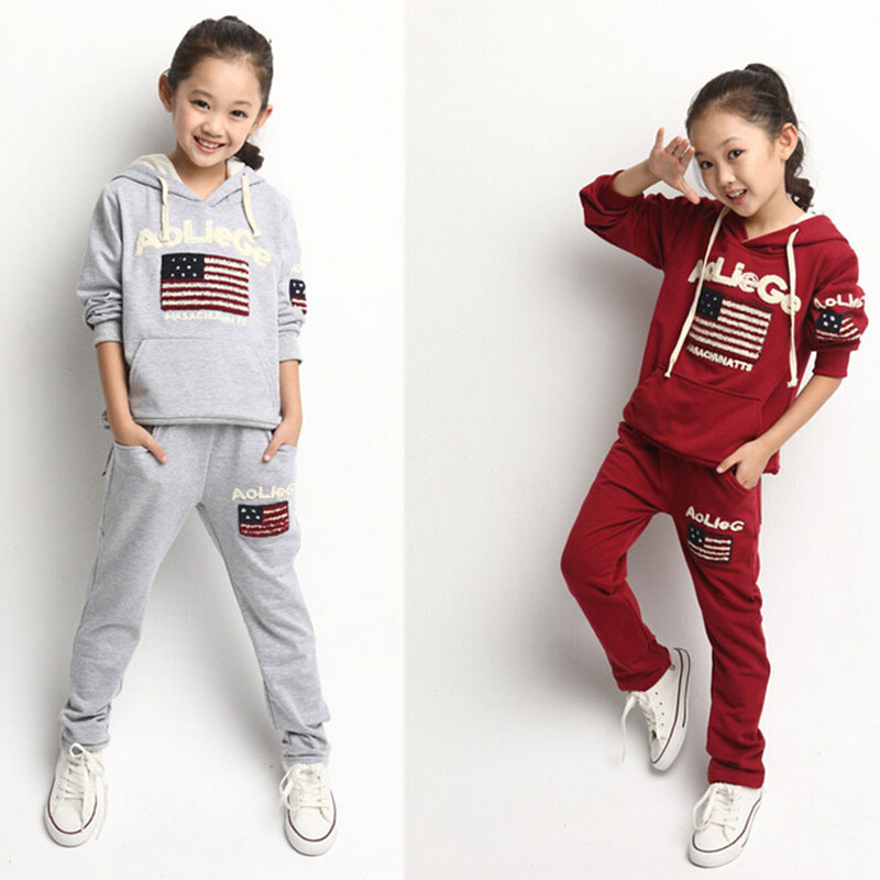 Teenage clothes jogging suit for girls autumn USA flag embroidery girls clothing sets hoodies ...