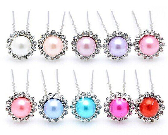 Crystal Pearl Flower Hair Pin Mix Color 200pcs/lot Fashion Bridal Hairpin Hair Pins Wedding Jewelry Hair Ornaments & Accessories