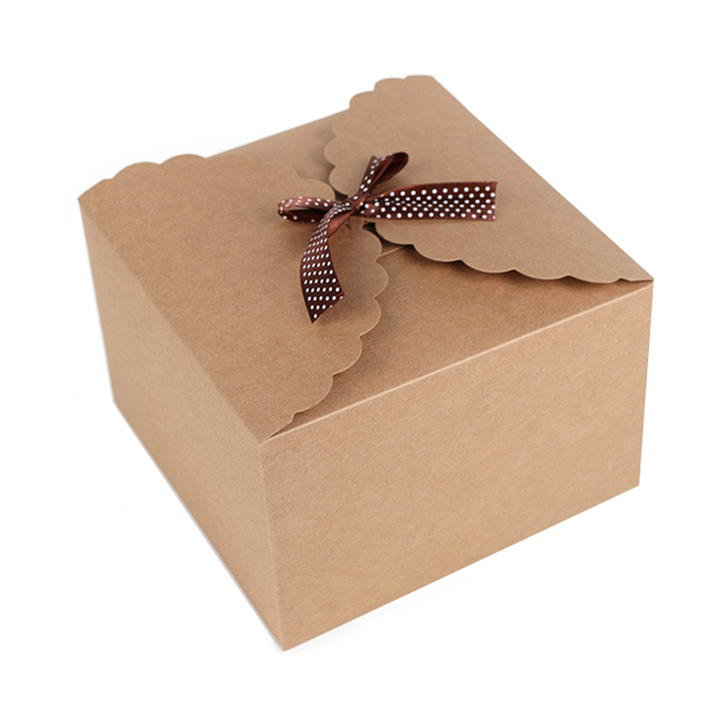 5pcs/pack 22*22*15cm High Quality Large Square Gift Boxes Simple Ribbon Bow Kraft Paper Carton Boxes Wholesale(China (Mainland))