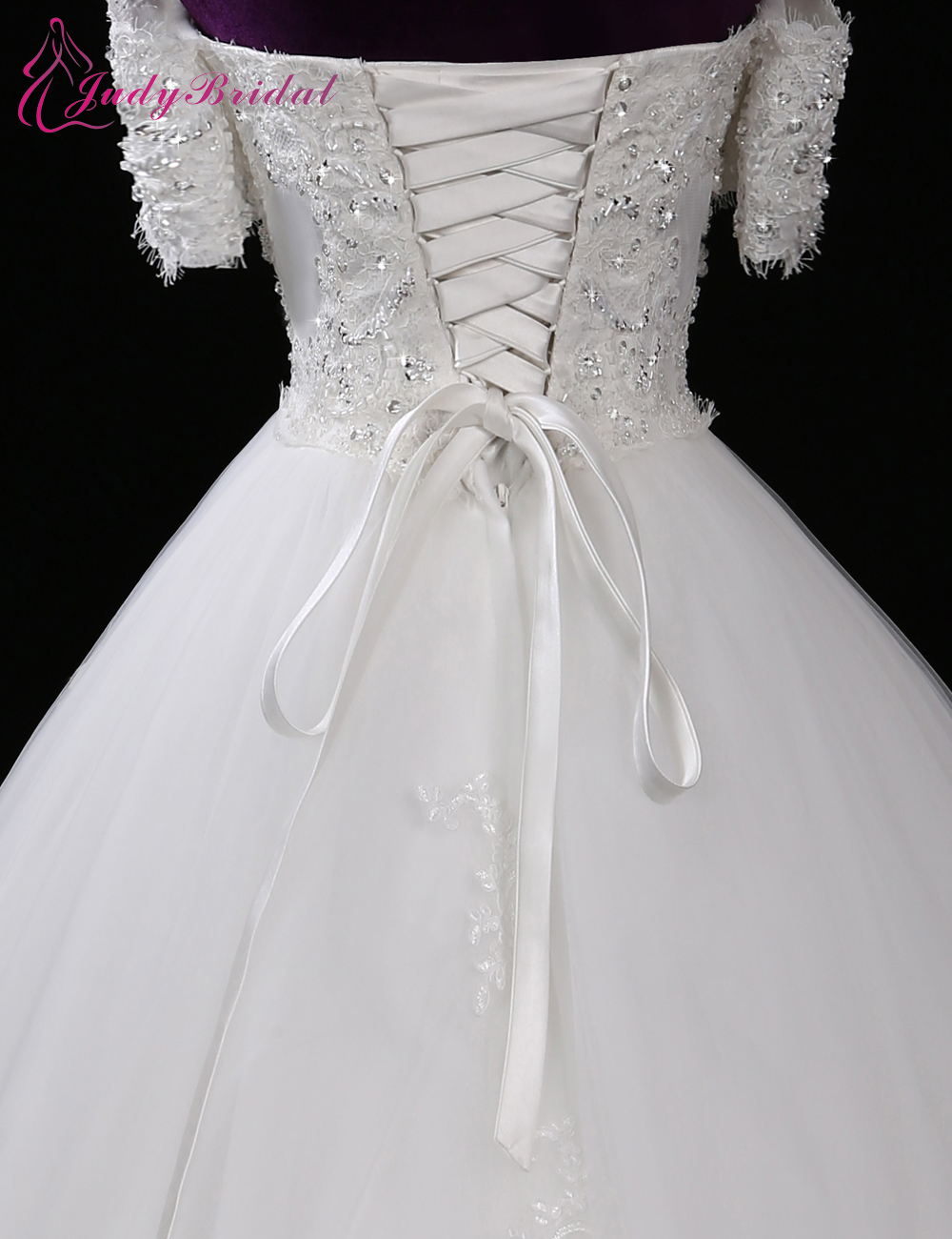2016 new exquisite ball gown wedding dress half sleeve for Boat neck long sleeve wedding dress