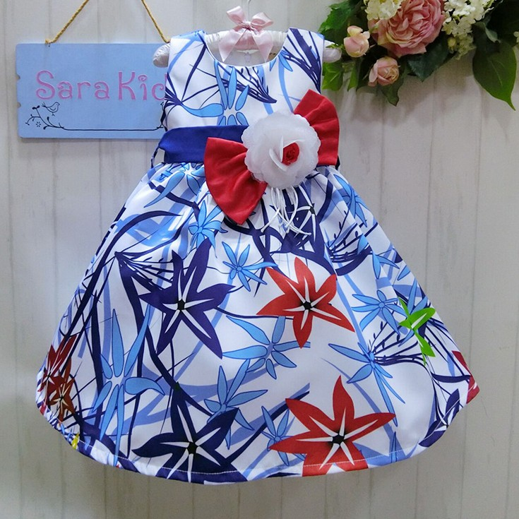 2016 Vogue Tribute Elegant Sashes Pearts Dress girls Princess dress Flower Dress  children (6Pcs/lot)  {iso-16-3-8-A6}<br><br>Aliexpress
