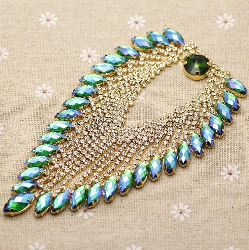 14.3*8cm Shine green AB Heart Tassel rhinestone applique Gold Base wedding Dress Belt Applique Sew on Party Dress Shoulder Chain(China (Mainland))