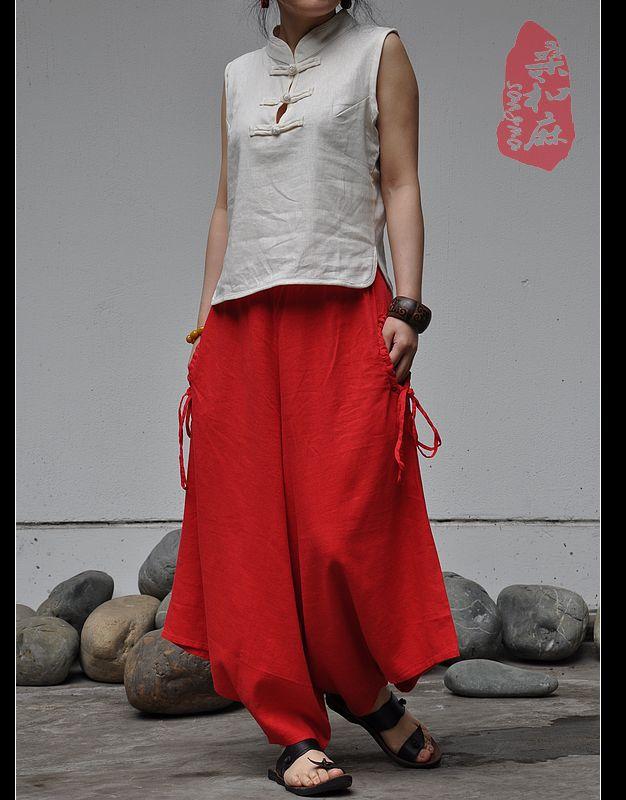 S.MA.Original Design Ethnic India Stlye Spring Summer Drawstring Pockets Elastic Waist Casual Loose Linen Flare Pants Dance PantОдежда и ак�е��уары<br><br><br>Aliexpress