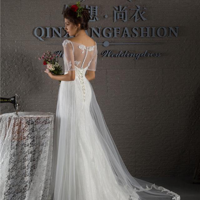 2015 гламурная русалка белые кружева half-рукава свадебного платья милая декольте ...