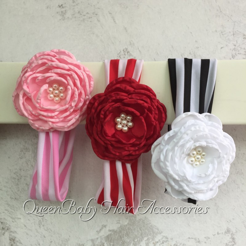 240pcs/lot  Stripe Headband Matching Satin Flowers  Baby Girl  Headband<br><br>Aliexpress