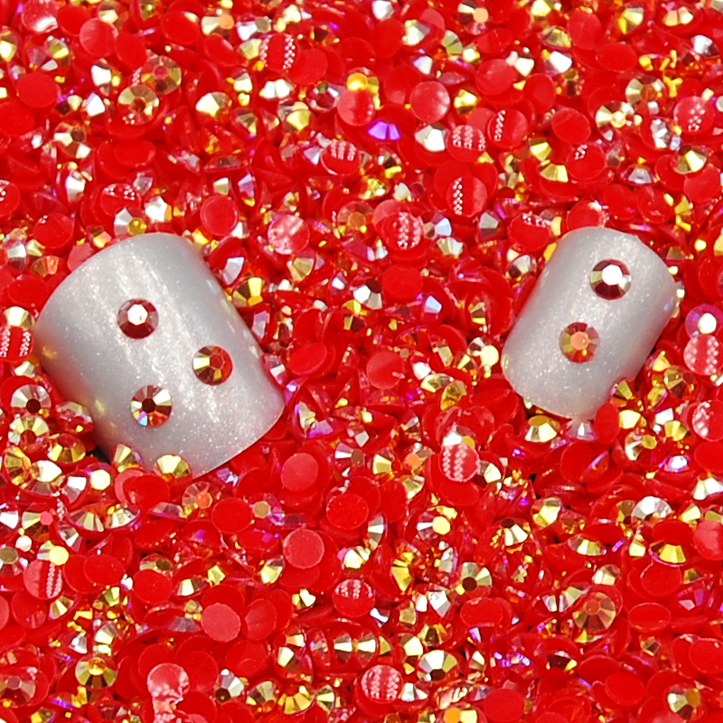 Hot New Fashion 5000Pcs/Bag Red Jelly AB/Light Siam Jelly AB Color Resin 3D Nail Art Glitter Rhinestone DIY Decoration(China (Mainland))