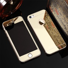 Full Screen Front+Rear Back 2PCS Mirror Plating Tempered Glass Protector Film Case for iphone 4 4s SE 5 5s 6 6s 7 Plus 6Plus(China (Mainland))