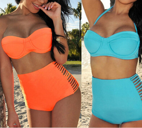 New Beach Bandage Orange Swimwear Fashion 2015 Women Vintage High Waist Swimsuit Triangl Sky Blue Bathing Suit Push Up Bikini(China (Mainland))