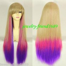 Wholesale& heat resistant LY free shipping>>>New New Cosplay Lolita Long Rose Purple Blonde Mixed Straight Wig