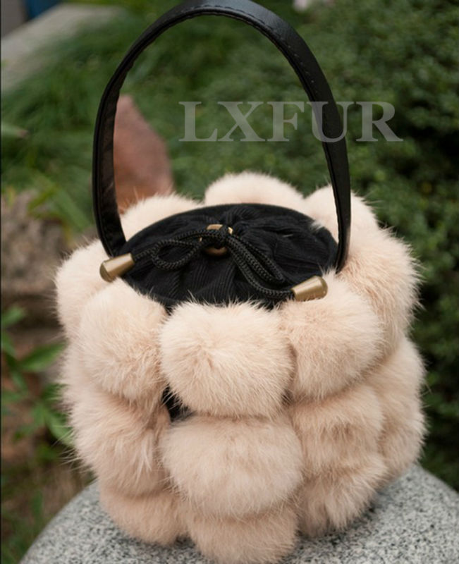 Casual Womens Real Rabbit Fur Buckets Bags Solid Shoulder Bag Fashion Handbags PU Leather Handle LX00283 - LuxuryFur store