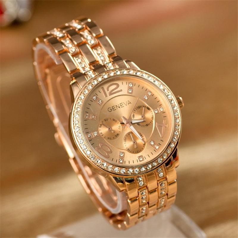 2015 New Women Men Popular Geneva Bling Stainless Steel Quartz Rhinestone Crystal Wrist Watch Gift Free