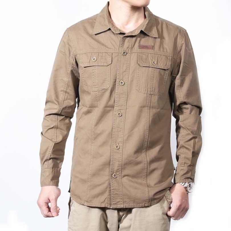 Popular army khaki shirt buy cheap army khaki shirt lots for Mens military style long sleeve shirts
