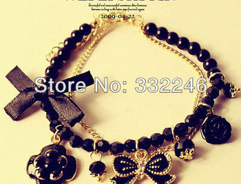 Min order $12! Fashion Jewelry Vintage Style Chains Bangle Pearls Bowknot Flower Charm Bracelet modish ornament Free shipping
