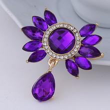 Mode Bouquet Broche Bijoux Pour Mariage Coréen Mignon Violet Bleu Fleur Cristal Strass Mariée Broche Pins Femmes Broche(China (Mainland))