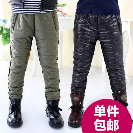 2015 winter patchwork male child baby child plus velvet thickening pants casual long trousers kz-5261(China (Mainland))