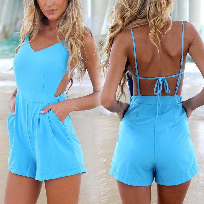 2014 New Celebrity Sexy V-neck Backless jumpsuit Women Summer Holiday Beach rompers womens jumpsuit Shorts Playsuit Plus size(China (Mainland))