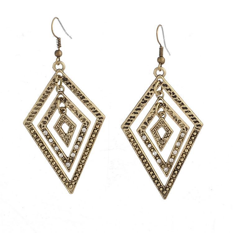 Rhombus triangle shaped dangle earrings retro antique for Drop shipping jewelry business