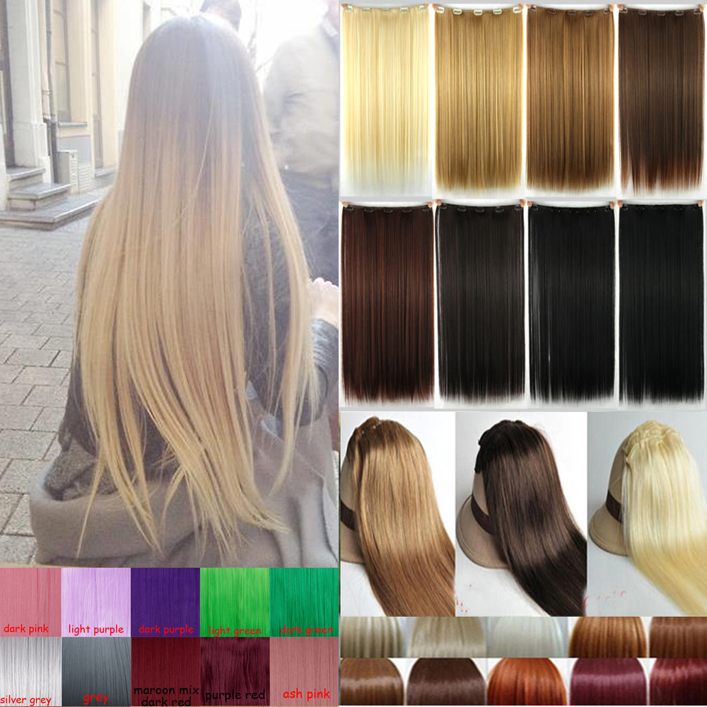Natural Straight Hair Clip in on Hair Extensions 26 inch 66cm Length super long blonde hair Black Dark Light Brown hairpiece<br><br>Aliexpress