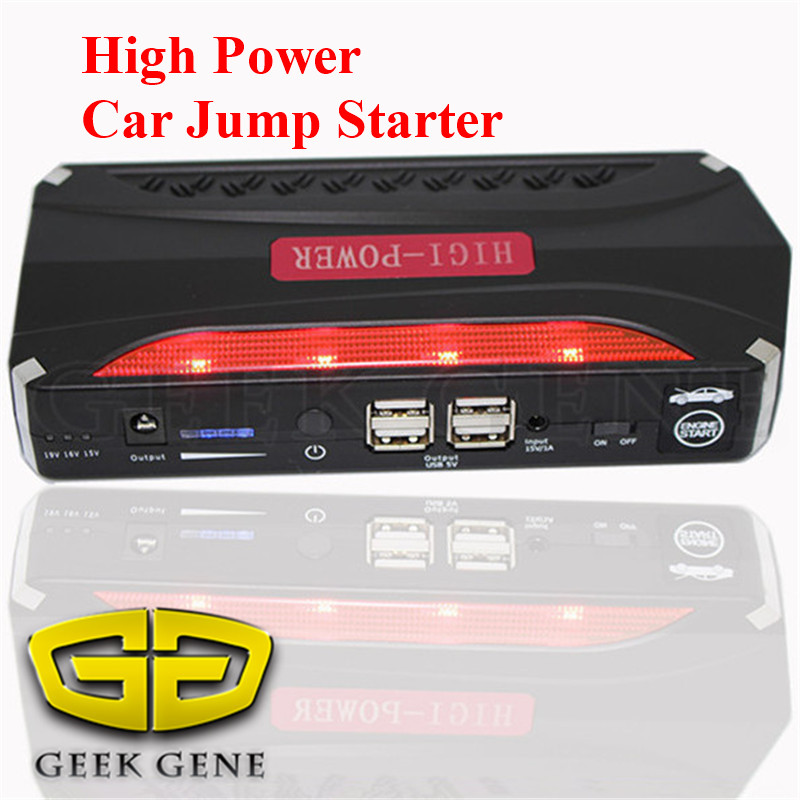 High Power Multi-Function 12V Car Jump Starter 4USB Phone Laptops Power Bank Portable Auto Battery Booster Charger SOS Lights(China (Mainland))