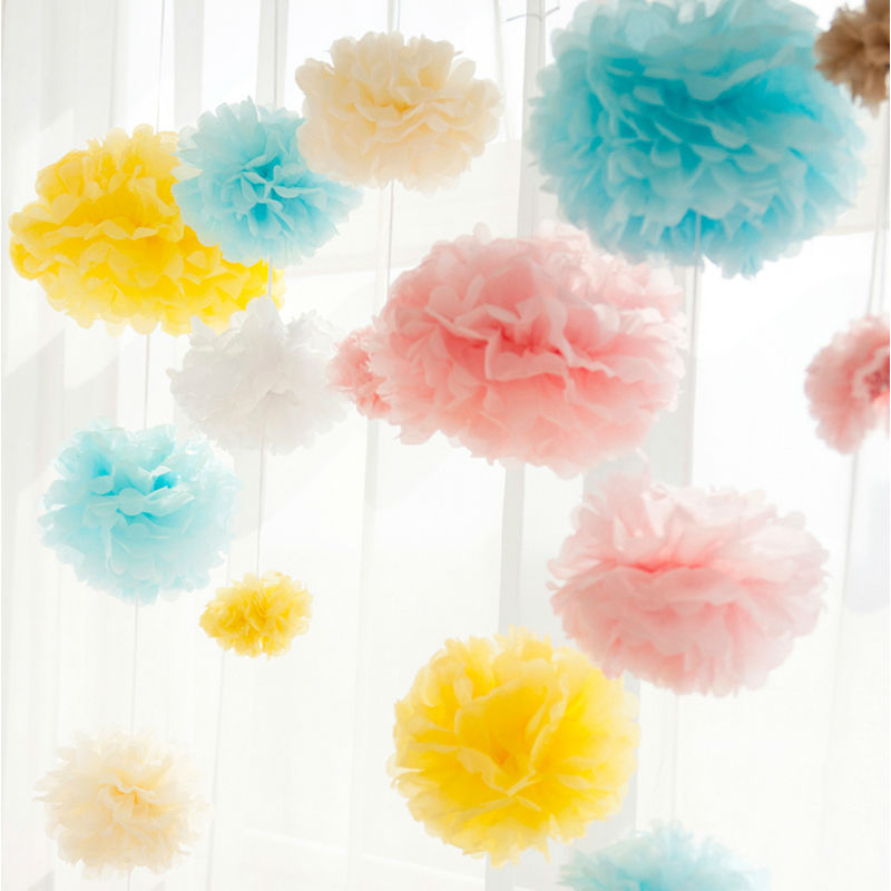 "festive party supplies 5pcs 10"" 25cm tissue paper flowers pom poms birthday kids wedding car decorations house ornaments crafts(China (Mainland))"