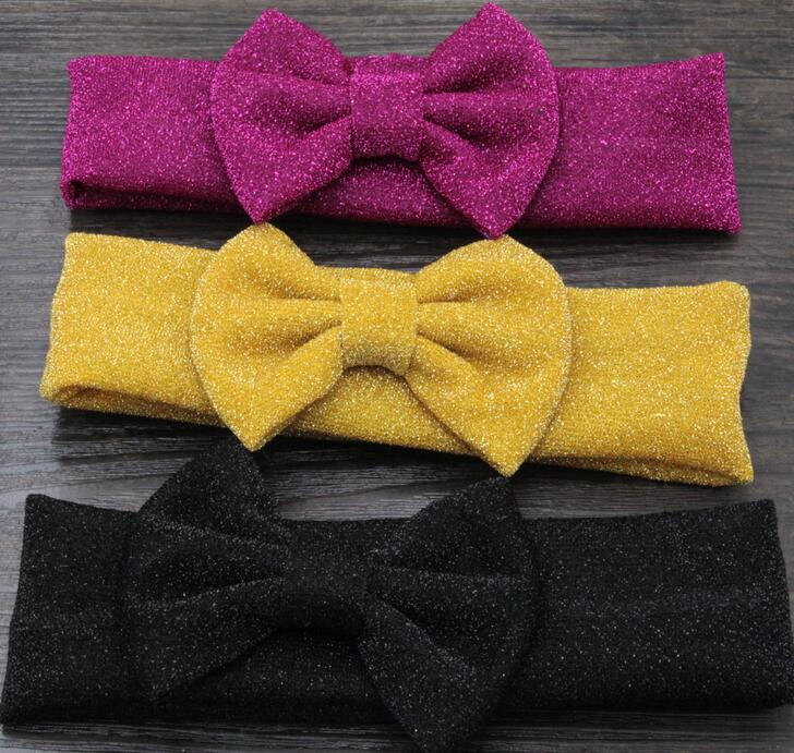 10pcs/lot Free Epacket/CPAP Glitter Messy Bow Baby Headwraps Large Hair Bow headband Baby Girl Accessories Headwear(China (Mainland))