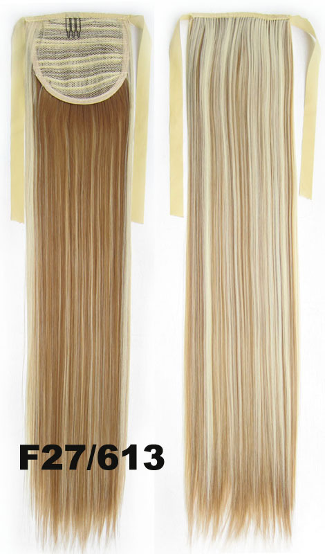 27T613 Light Blonde Brown mix Long Straight clip on Ponytail hair extension Cosplay Custome Party Carnival Cheerleader X 2pcs<br><br>Aliexpress