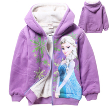 2016 Cartoon 4-10 yrs kids Winter fleece hoodies zipper sudaderas ninas olaf&anna&elsa clothes children girls hoodies sweatshirt(China (Mainland))
